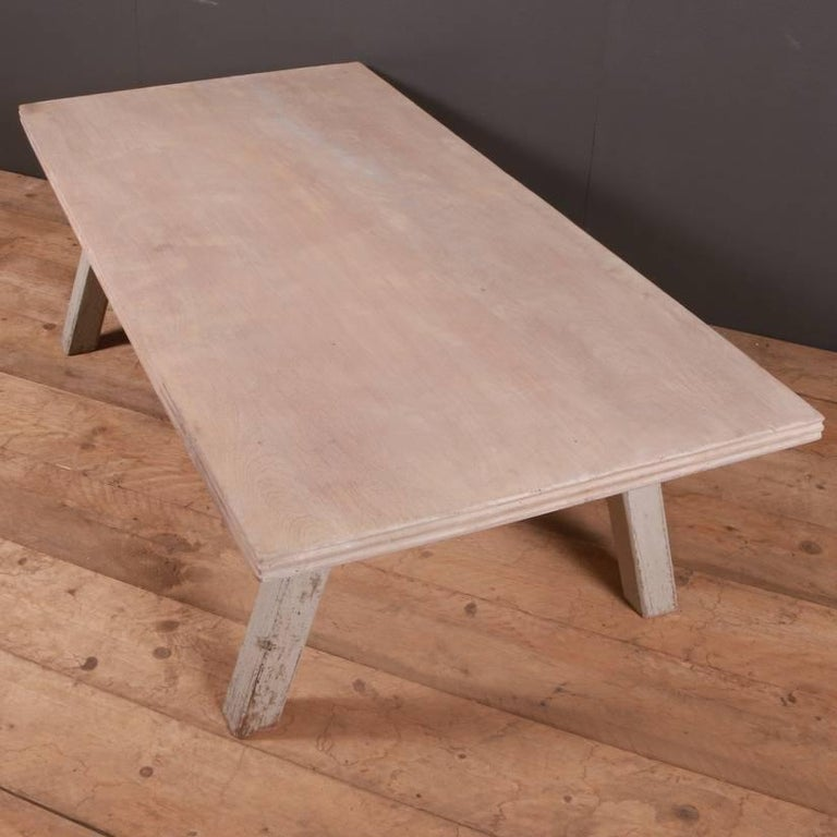 Bleached French Painted Coffee Table For Sale