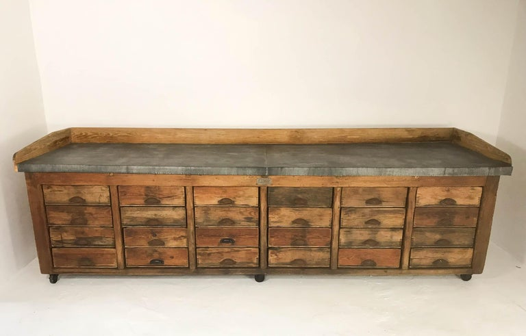 20th Century Vintage Industrial Pine Baker's Table Kitchen Island Zinc Top For Sale 1