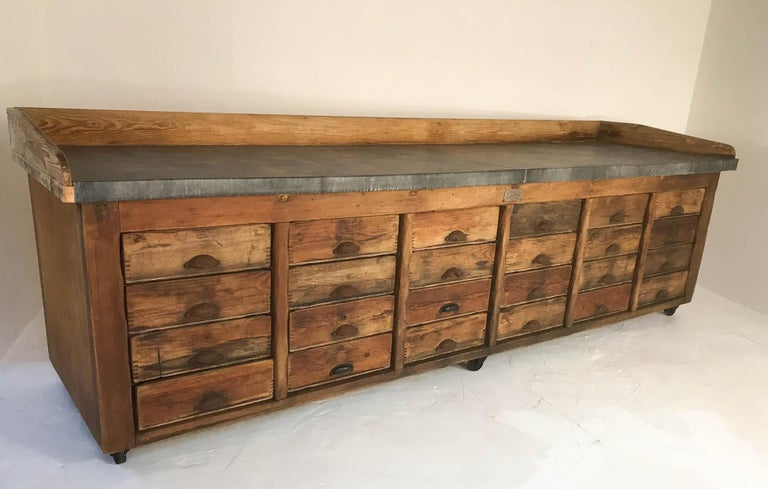 20th Century Vintage Industrial Pine Baker's Table Kitchen Island Zinc Top For Sale 3