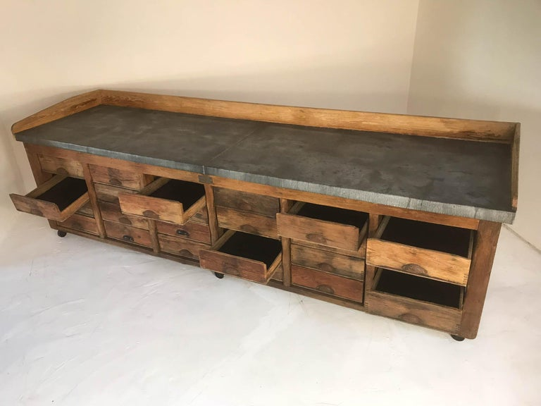 20th Century Vintage Industrial Pine Baker's Table Kitchen Island Zinc Top For Sale 7