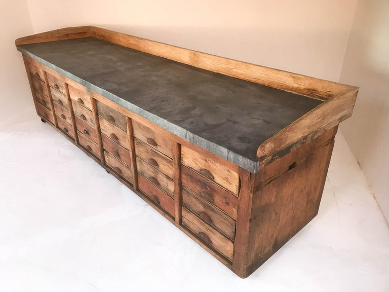 20th Century Vintage Industrial Pine Baker's Table Kitchen Island Zinc Top For Sale 11