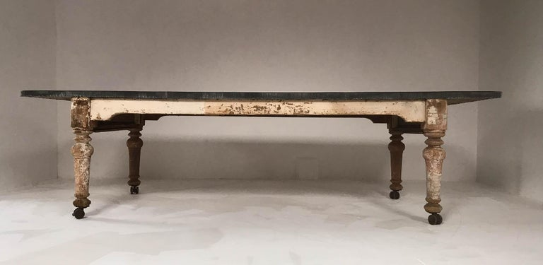 Th Century Victorian Rustic Dining Table With Aged Zinc Top For - Aged wood dining table