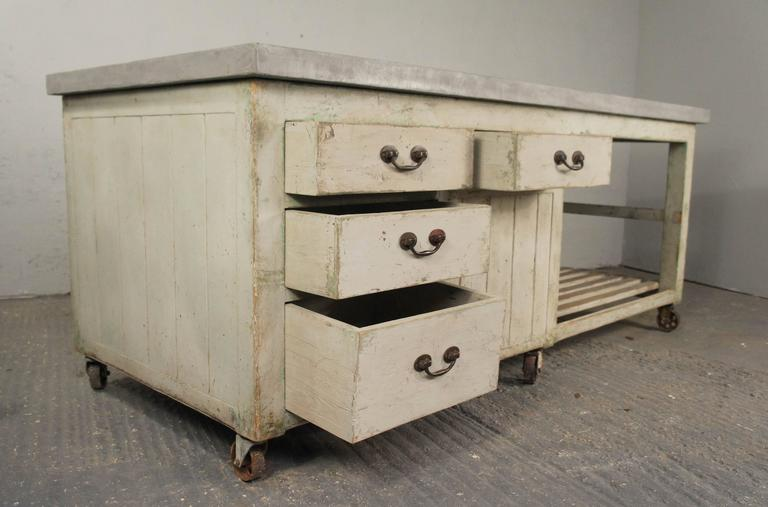 20th century industrial antique pine workbench kitchen island shop counter for sale at 1stdibs - Industrial kitchen island for sale ...