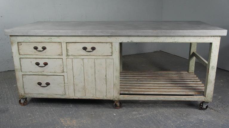 20th century industrial antique pine workbench kitchen for Vintage kitchen island for sale