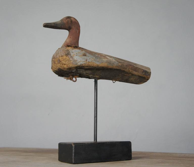 Folk Art Wooden Decoy Duck On Stand With Distressed Paint At 1stdibs