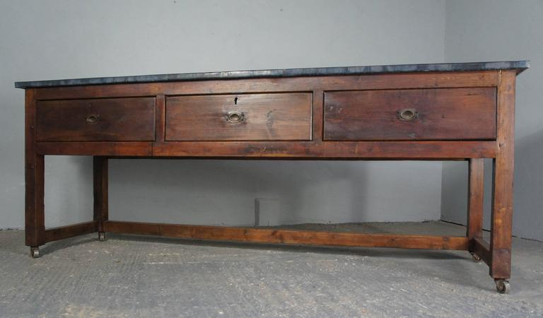Zinc Top Table Sideboard Or Kitchen Island On Casters For Sale At 1stdibs