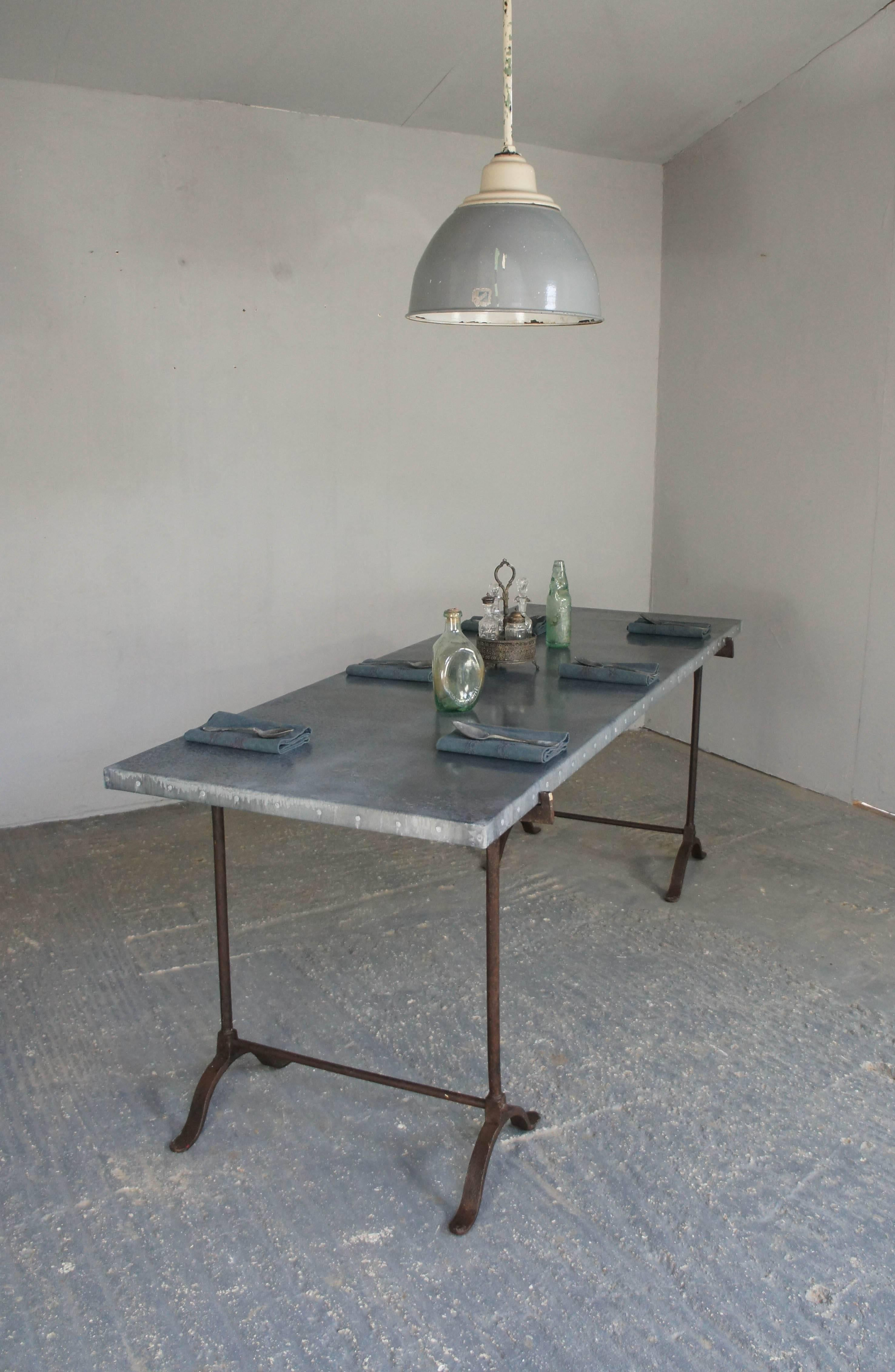 Vintage Industrial Zinc Top Dining Table On Wrought Iron Trestle Legs 2