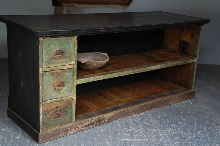 19th Century Upcycled Zinc Top Pine Shop Counter Kitchen Island Waiter Station For Sale At 1stdibs