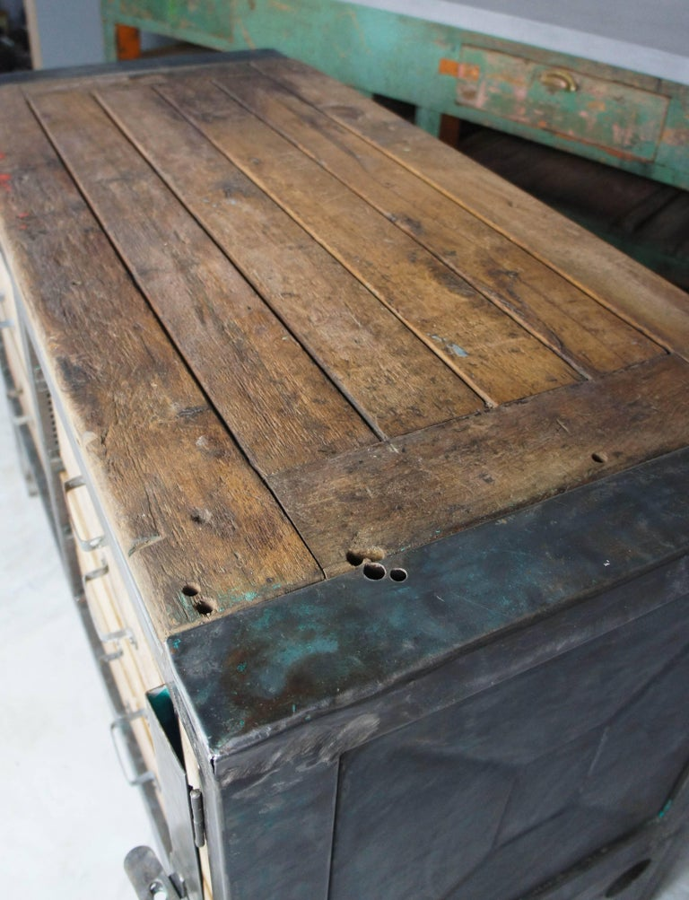 Czech Midcentury Vintage Industrial Workbench Kitchen Island Worktable For Sale