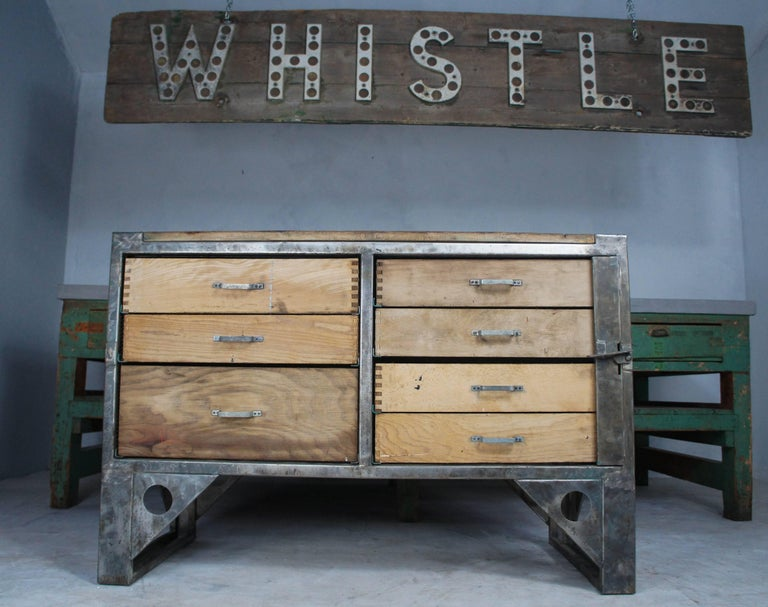 Midcentury Vintage Industrial Workbench Kitchen Island Worktable For Sale 2