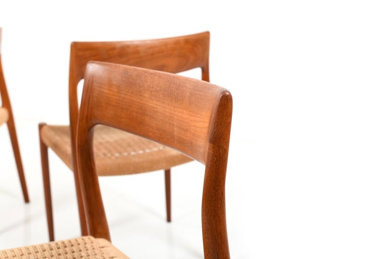 Set of Four Dining Chairs by N.O.Møller, 1960s In Good Condition For Sale In Handewitt, DE