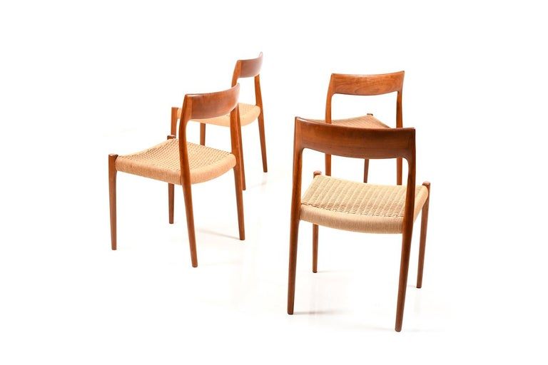 Danish Set of Four Dining Chairs by N.O.Møller, 1960s For Sale