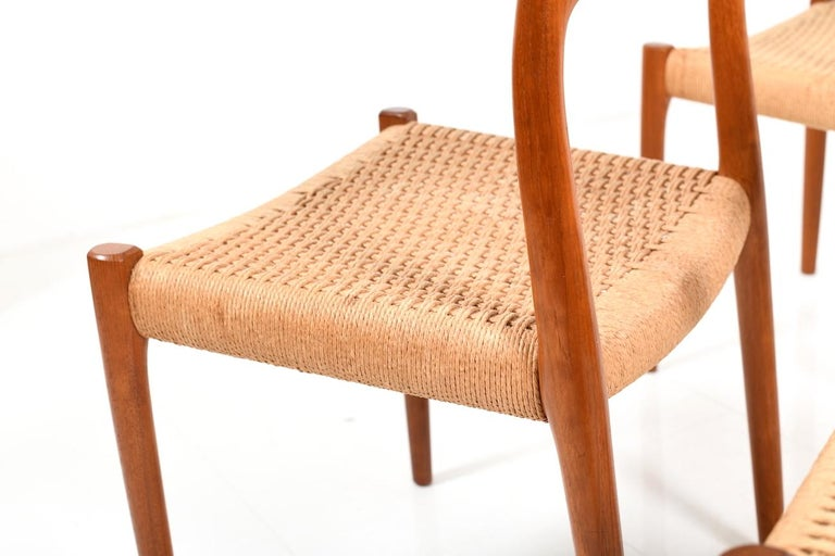 Set of Four Dining Chairs by N.O.Møller, 1960s For Sale 3