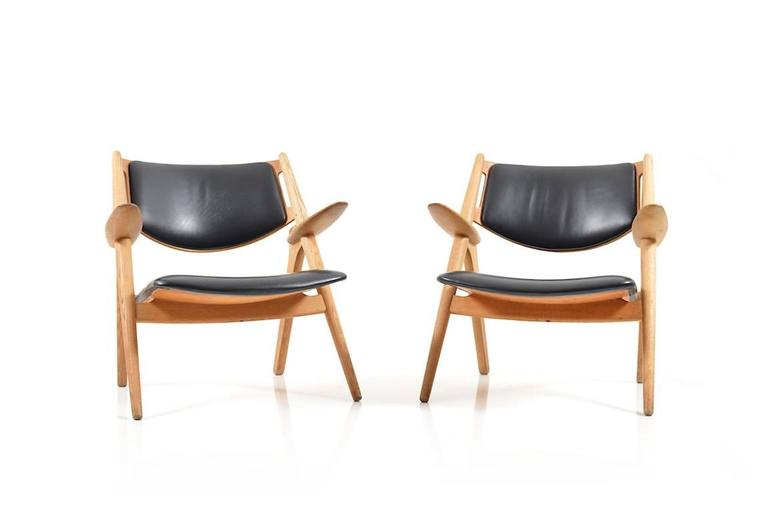 Pair Of Saw Horse Chairs, Model CH 28. Solid Oak Frame, Seat