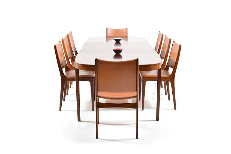 Set of 8 Dining Chairs in Rosewood by Johannes Andersen for Uldum Møbelfabrik For Sale 1