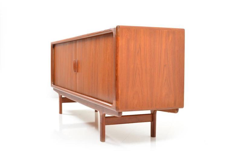 Mid Century Modern Teak Wooden Jalousie Door Sideboard By Dyrlund For Sale