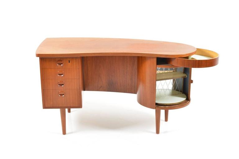 Freestanding Kidney Organic Desk In Teak With Home Bar And Hidden Drawer Model 54