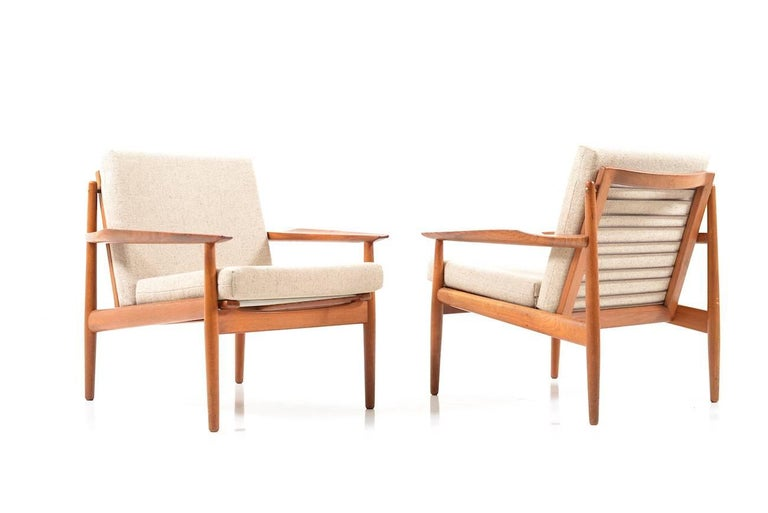 Early Pair of Danish Easy Chairs by Arne Vodder, 1950s In Good Condition For Sale In Handewitt, DE