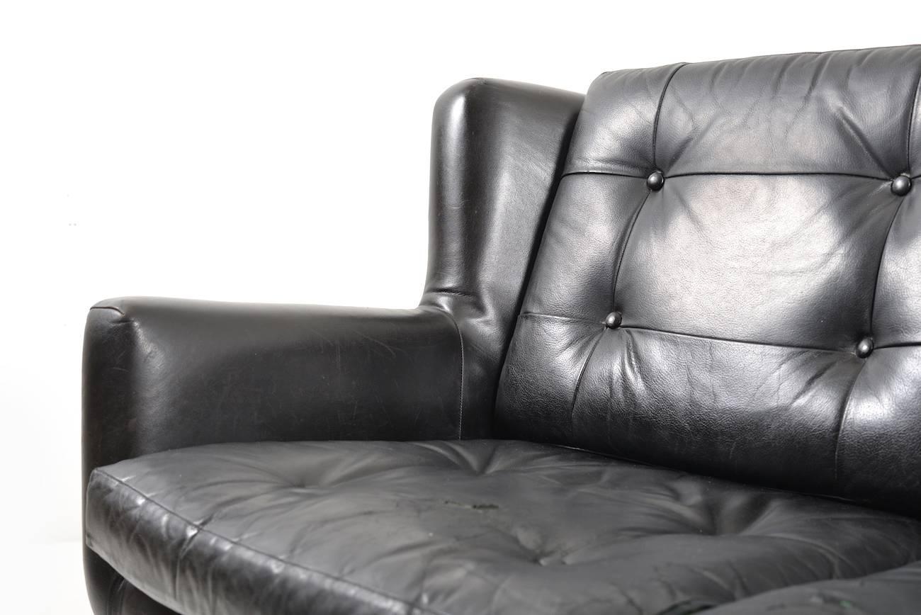 Aluminum Early Danish Leather Sofa By Skjold Sørensen For Sale