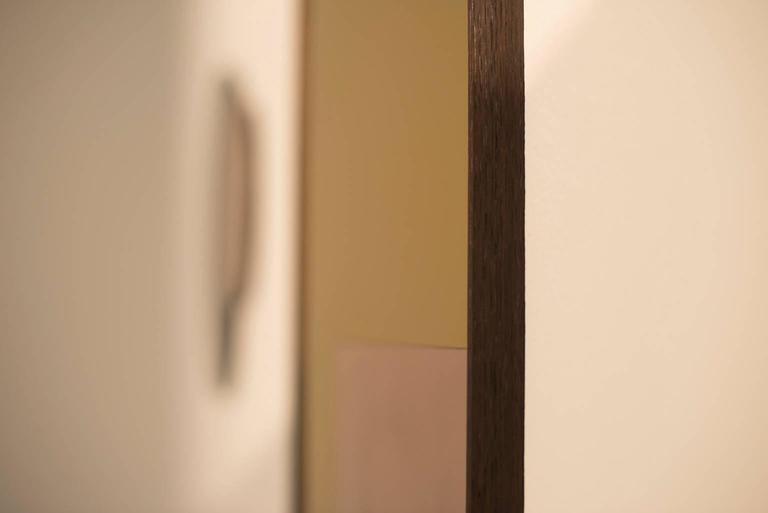 Ebonized 'Constructivist Mirror Series - Rectangle' Modern Wall Mirror in Polished Copper For Sale