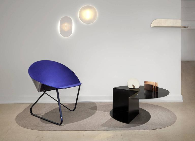Hand-Crafted 'Curved Chair' Felt Padded and Coated Steel in Customizable Color For Sale