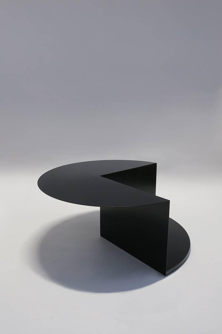 Painted 'Cantilever' Minimalist Coffee Table in Coated Steel, Customizable Color   For Sale