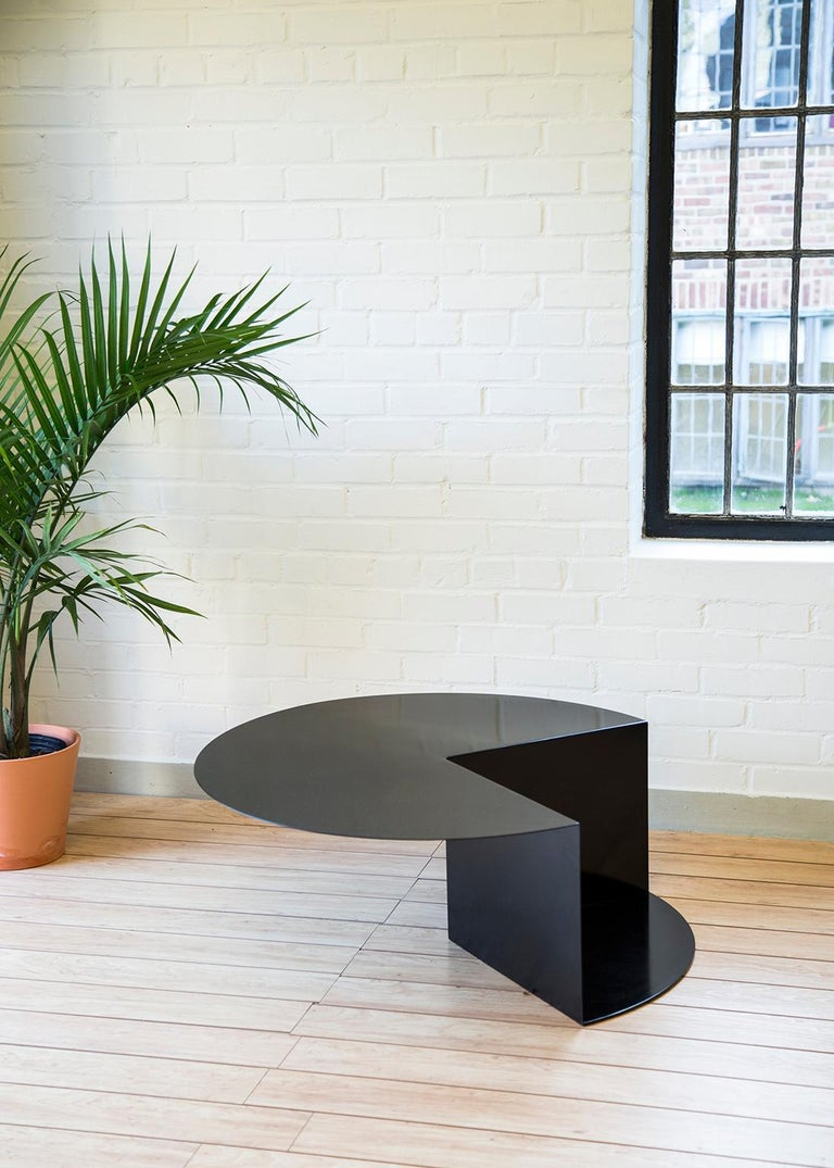 'Cantilever' Minimalist Coffee Table in Coated Steel, Customizable Color   In New Condition For Sale In Detroit, MI