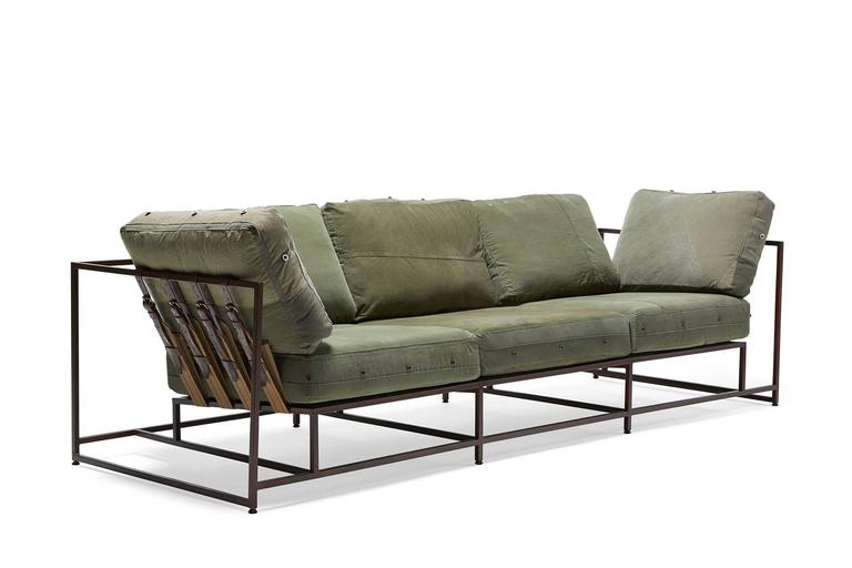 Vintage Military Canvas and Marbled Rust Sofa For Sale at 1stdibs