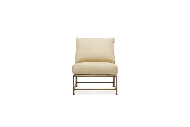 Modern Cream Nubuck Leather and Antique Brass Chair For Sale