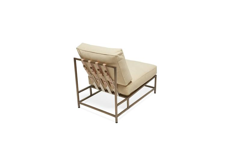 Plated Cream Nubuck Leather and Antique Brass Chair For Sale
