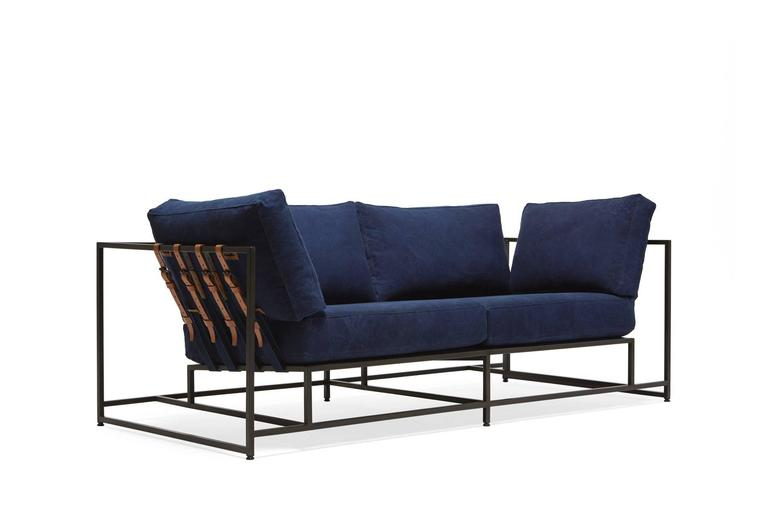 Exceptional Hand Dyed Indigo Canvas And Blackened Steel Two Seat Sofa 2
