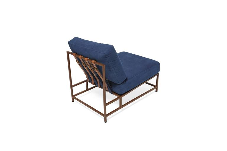 Modern Hand-Dyed Indigo Canvas and Marbled Rust Chair For Sale