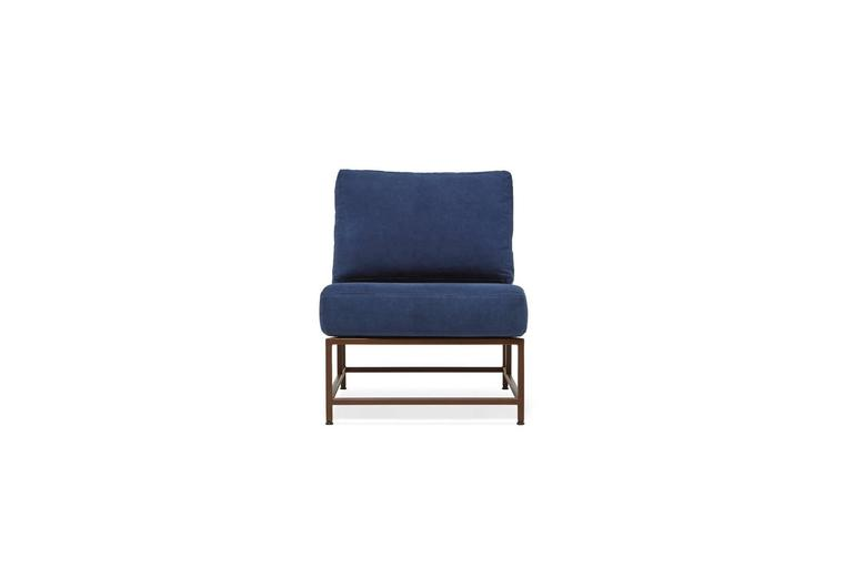 American Hand-Dyed Indigo Canvas and Marbled Rust Chair For Sale
