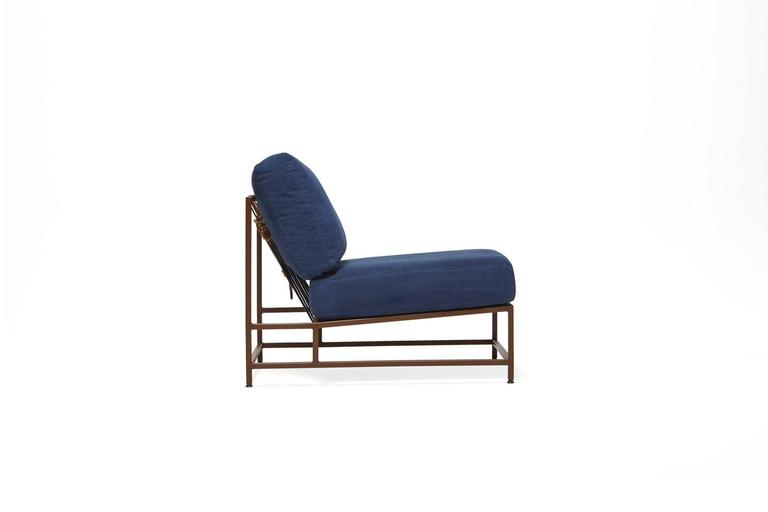 Vegetable Dyed Hand-Dyed Indigo Canvas and Marbled Rust Chair For Sale