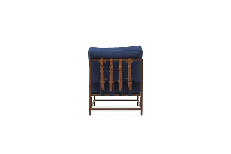 Hand-Dyed Indigo Canvas and Marbled Rust Chair In New Condition For Sale In Los Angeles, CA