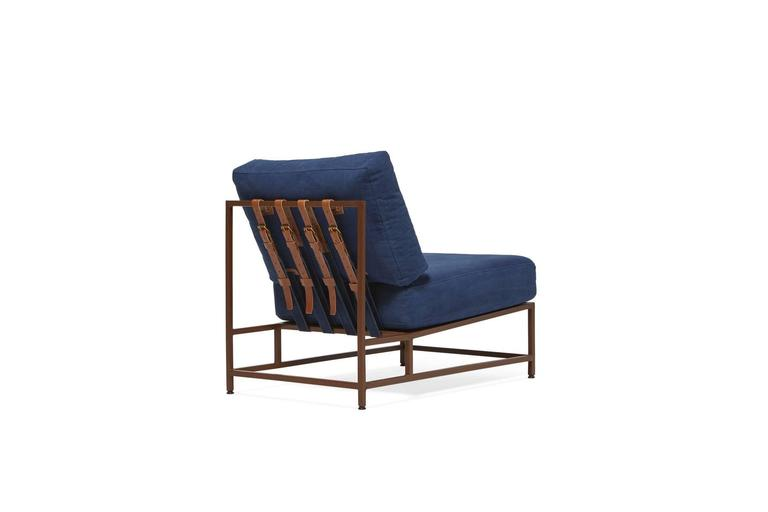 Sleek and refined, the Inheritance Chair is a great addition to nearly any space.   Inspired by a worn-in pair of jeans and created alongside the team at Simon Miller, USA, our indigo cotton canvas is hand dyed using a chemical free process and