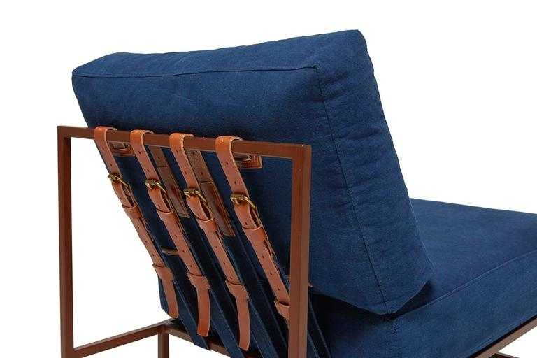 Contemporary Hand-Dyed Indigo Canvas and Marbled Rust Chair For Sale