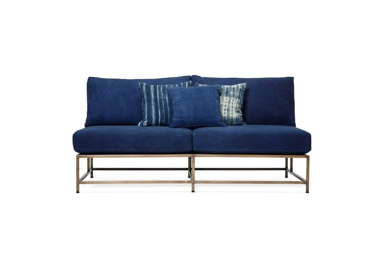 American Hand-Dyed Indigo Canvas and Antique Brass Loveseat For Sale
