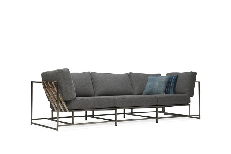 Plated Faribault Grey Wool and Antique Nickel Sofa For Sale