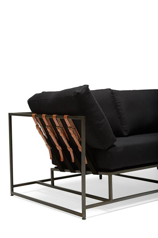 Black Canvas And Blackened Steel Sofa 3