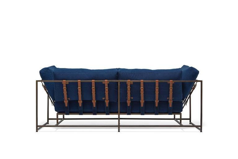 American Modern Hand-Dyed Indigo Canvas and Antique Copper Two-Seat Sofa For Sale