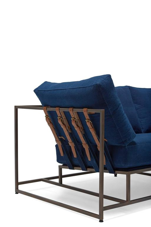 American Hand-Dyed Indigo Canvas and Antique Copper Two-Seat Sofa For Sale