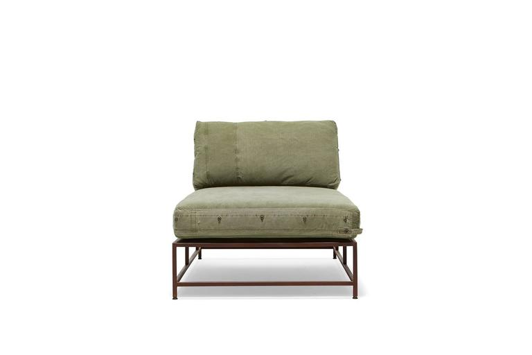 American Modern Vintage Military Canvas and Marbled Rust Chaise Longue For Sale