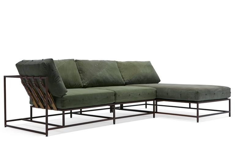 A Sectional Version Of The Inheritance Collection Sofa Made With Military  Canvas Upholstery And A Marbled