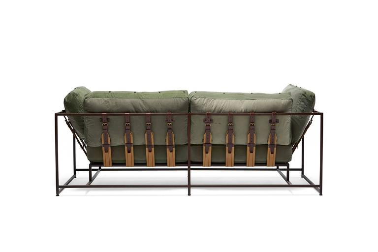 American Modern Vintage Military Canvas and Marbled Rust Two-Seat Sofa For Sale