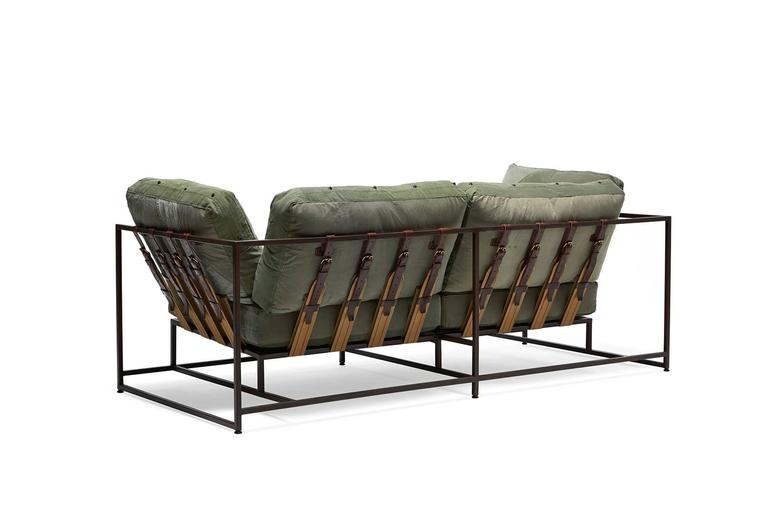 American Vintage Military Canvas and Marbled Rust Two-Seat Sofa For Sale