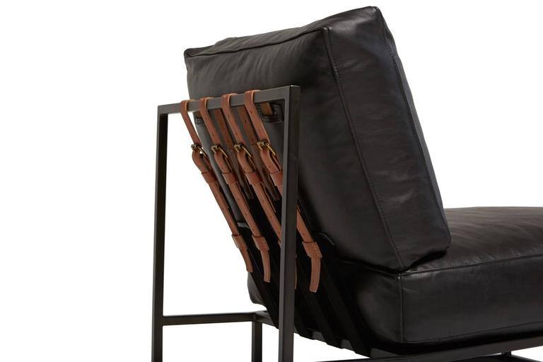 Contemporary Obsidian Black Leather and Blackened Steel Chair For Sale