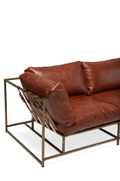 American Walnut Brown Leather and Antique Brass Sofa For Sale