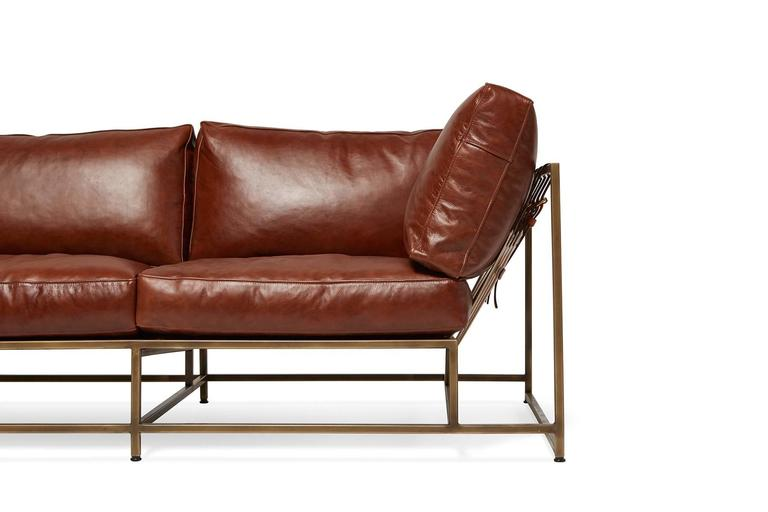 Plated Walnut Brown Leather and Antique Brass Sofa For Sale