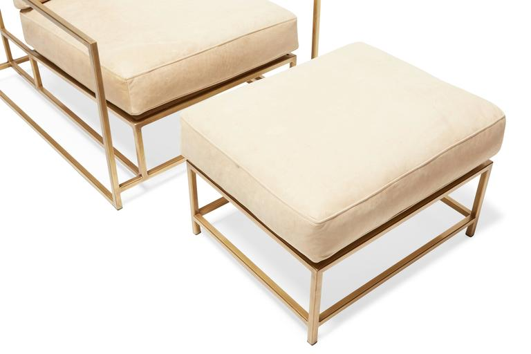 American Modern Moore U0026 Giles Sand Leather And Antique Brass Armchair And  Ottoman For Sale